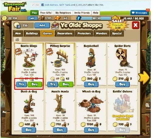 trybuy virtualgoods Game Design: 5 Social Game mechanics