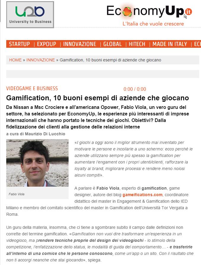 Un articolo/intervista con Fabio Viola su EconomyUp