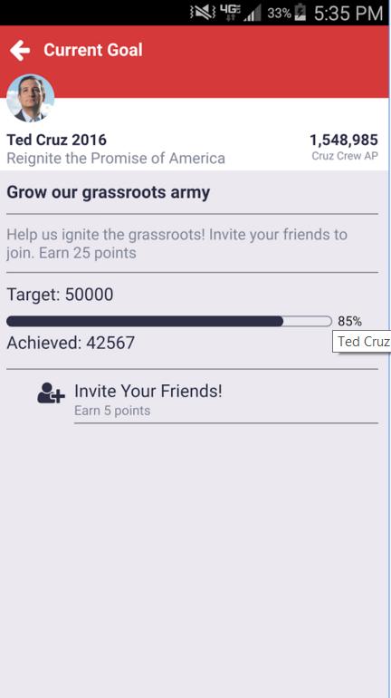 Le progress bars inserite nel design dell'app aiutano a quantificare lo sforzo effettuato e quanto manca al raggiungimento obiettivo