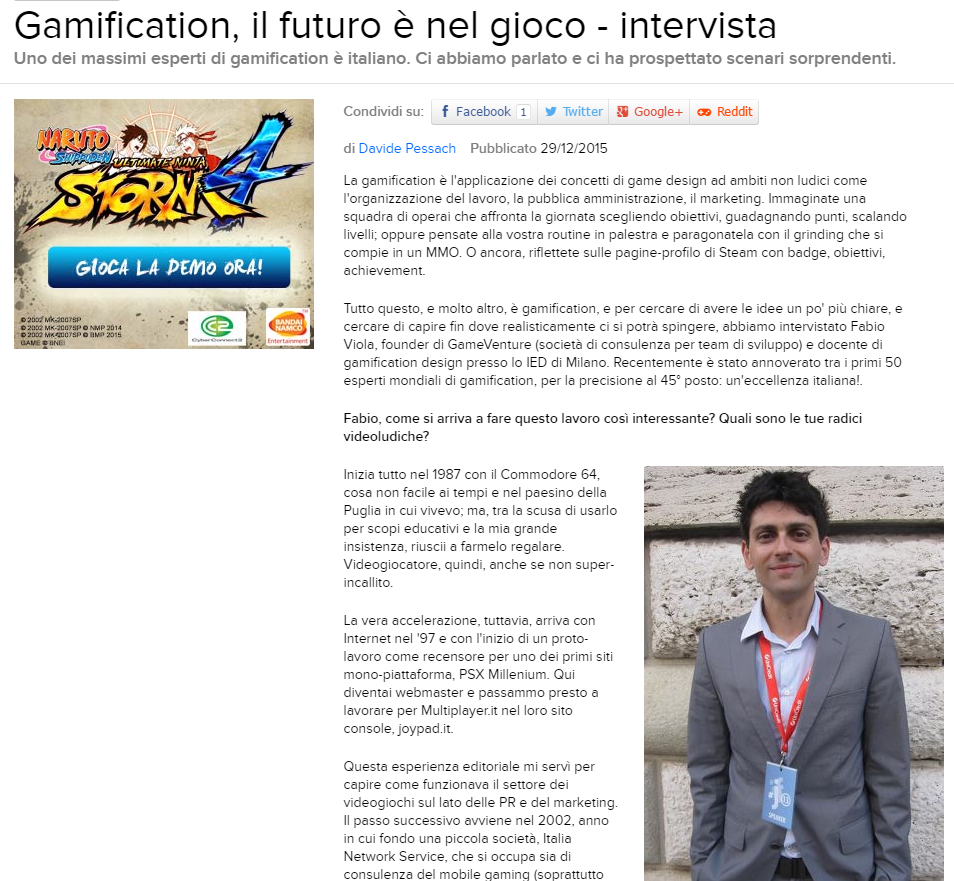 Gamification Designer Fabio Viola su Eurogamer